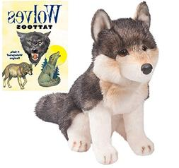 "Atka Wolf 11"" Plush with Wolves Tattoos Book by Douglas"