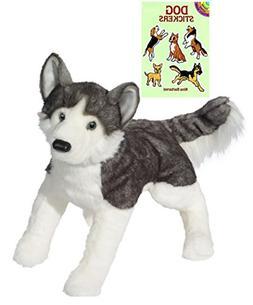 "Douglas Barker Husky Lying, Large 30"" Plush with Dog Sticker"