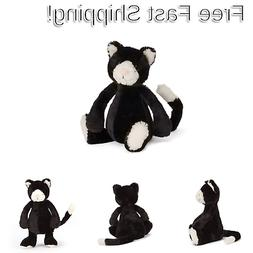 Jellycat Bashful Black and White Kitten, Small, 7 inches