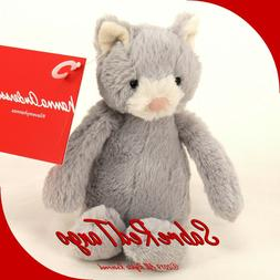 Jellycat Bashful Grey and White Kitty, Small, 7 inches