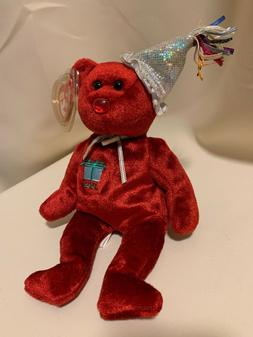 Ty Beanie Babies July the Red Happy birthday Bear Stuffed An
