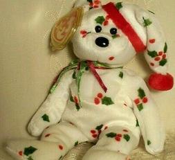 """Ty Beanie Baby 1998 Holiday Teddy Bear Christmas Holly 8.5"""""""