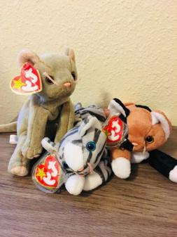 Beanie Baby Lot 3 Cat Plush TY, Scat, Chip, Prance Stuffed A