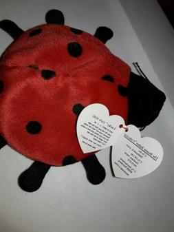 "Ty Beanie Baby Lucky Red Lady Bug 5"" Bean Plush Stuffed Anim"