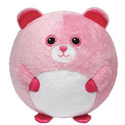 "Ty Beanie Ballz 4.5"" Plush PINKY Baby Pink Bear Ball With Ra"