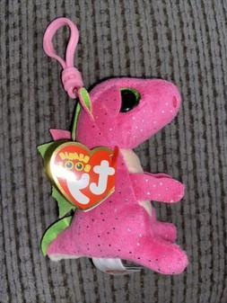 Ty Beanie Boo Darla the Pink Dragon Clip Keychain