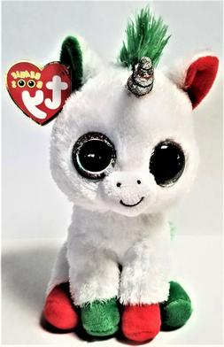 Ty Beanie Boo's - 6'' Candy Cane The Unicorn Stuffed Plush A