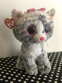 Ty Beanie Boo's 6'' Kiki The Grey Striped Cat w/ Pink Bow St