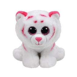 "TY Beanie Boo Tabor White Tiger Pink Spots 7"" Collectible Pl"