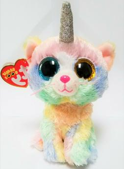Ty Beanie Boos 6'' HEATHER The  Unicorn Cat  Stuffed Plush A