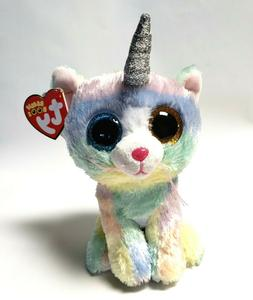 Ty Beanie Boos 6'' HEATHER The Unicorn Cat Stuffed Plush Ani