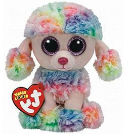 "Ty Beanie Boos 9"" Medium Rainbow the Poddle Dog Stuffed Anim"