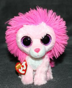 "Ty Beanie Boos Fluffy 6"" Pink Lion with Purple Glitter Eyes"