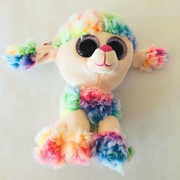 TY Beanie Boos Poodle Dog 6'' RAINBOW Stuffed Plush Animals