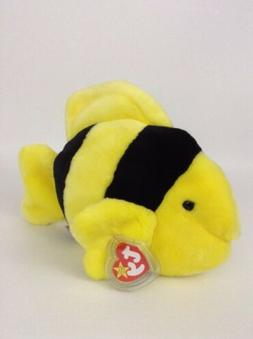Ty Beanie Buddies Bubbles -1998 -Yellow & Black Angel Fish-P