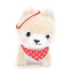 Beige Dog Plushie Ball Chain Size Amuse Stuffed Animal Keych