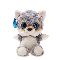 WILDREAM Big Eyes Grey Wolf Stuffed Animal Toys Cuddly Polye