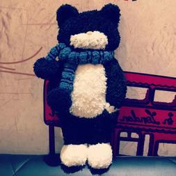 Black Cat Doll with Scarf Plush Toy Kawaii Stuffed Animals G