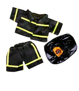 """Black Firefighter w/Hat Teddy Bear Clothes Fits Most 14"""" - 1"""