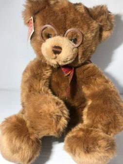 "Gund Booker Teddy Bear 16"" Plush Brown Stuffed Animal Glasse"