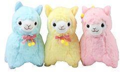 "KSB Pack of 3 7"" Bowknot Plush Alpaca, 100% Plush Stuffed An"