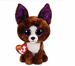 "Brown Chihuahua 6"" Ty Beanie Boos Puppy Glitter Big Eyes Plu"