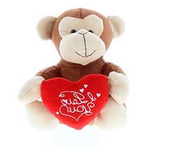 DolliBu Brown Monkey I Love You Valentines Stuffed Animal -
