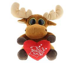 DolliBu Brown Moose Big Eye I Love You Valentines Stuffed An