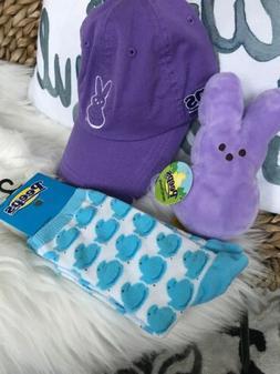 Bunny PEEPS Lot Purple Plush Mini Stuffed Animal Hat Socks A