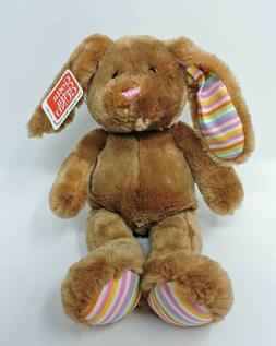 """Gund Bunny Plush Hoppy Days Floppity 14"""" Soft Toy Brown Pink"""