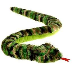 Large Camouflage Camo Shaggy Snake Plush Stuffed Animal Toy