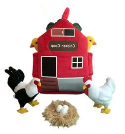 "ADORE 12"" Chicken Coop Farm House Stuffed Animal Plush Plays"