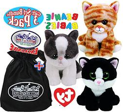 """TY Beanie Babies """"Cats"""" Cleo, Yang & Ava Gift Set Bundle wit"""