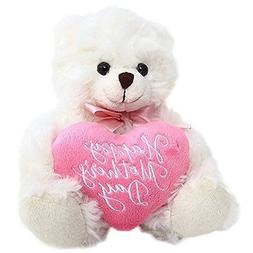 Plushland Cream Bear, Holding a Heart in Pink Printed Happy