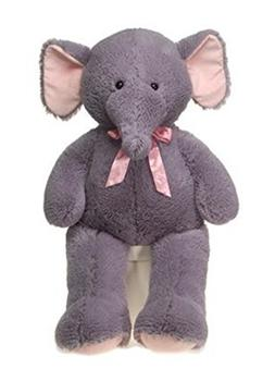 """Large 39"""" Cuddle Elephant Plush Animal with Pink Bow - Super"""