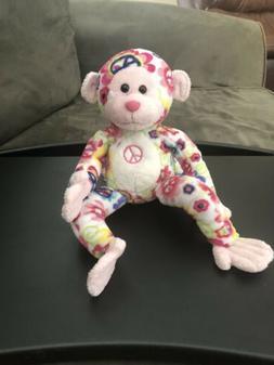 Douglas Cuddle Toy Monkey Stuffed Animal Plush Pink and Whit