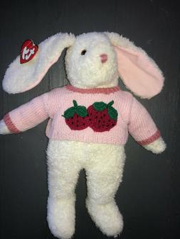 TY Curly White Bunny Plush Stuffed Animal Pink Strawberry Sw