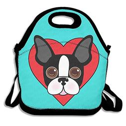 Cute Boston Terrier Dog Face Mint Green Lunch Bags Insulated