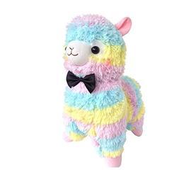"17"" Cute Bow Tie Series Rainbow Alpaca Plush Toy Soft Stuffe"