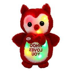 WEWILL LED Owl Stuffed Animals Glow Cute Soft Plush Toy Love