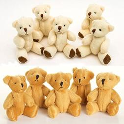 NEW 10 X Cute And Cuddly Small Teddy Bears - 5 X Brown And 5