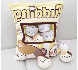 Cute Fluffy Kitty Pillow Bag with 8 pieces of Plushy