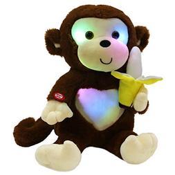 WEWILL LED Cute Monkey Stuffed Animal Creative Glow Soft Plu