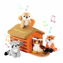 KLEEGER Cute Plush Woodland Animals Toy Set For Kids With Ca