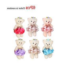 "Cute Small Stuffed Teddy Bear Half A Dozen, Sealive 4.7"" Min"