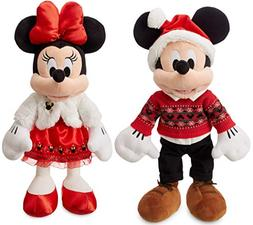 """Disney Mickey and Minnie 17"""" 2018 Official Holiday Plush"""