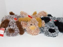 Dog Puppy Plush Stuffed Animals THREE Beige, Brown & Gray Pu
