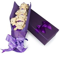Deluxe Bear Bouquet in Gift Box - One Dozen Long Stemmed Ros