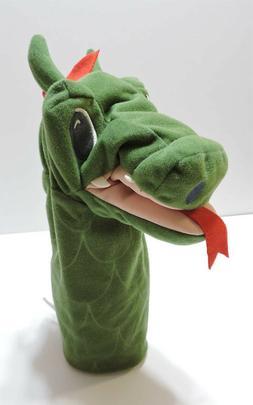 "Ikea Dragon Puppet Plush Fantasivarld Green Red 10"" Soft Han"