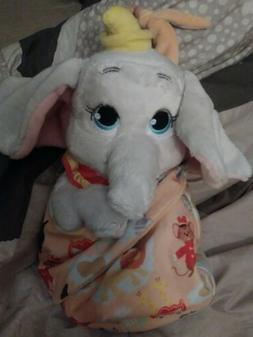 "Disney Parks  Dumbo Baby Plush in Blanket Pouch 10"""